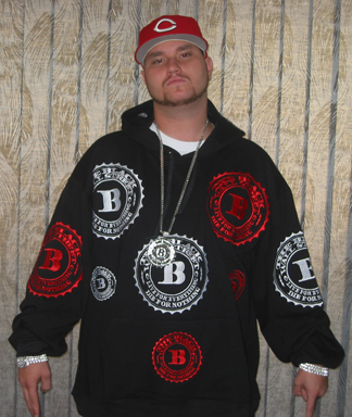 BLACKWALLSTREET RED & WHITE LOGOS HOODIE - BLACK - XL