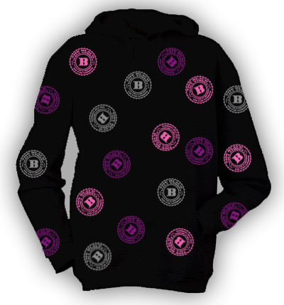 BLACKWALLSTREET PINK/PURPLE/SILVER LOGOS HOODIE - BLACK