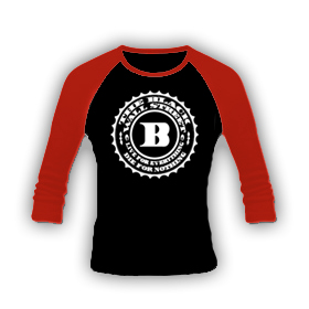 BLACKWALLSTREET WHITE BWS LONGSLEEVE - BLACK BODY / RED SLEEVES