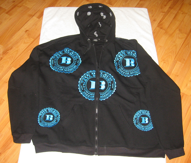 "BLUE BWS LOGOS ""LET'S RIDE"" ZIP HOODIE - BLACK - XL"