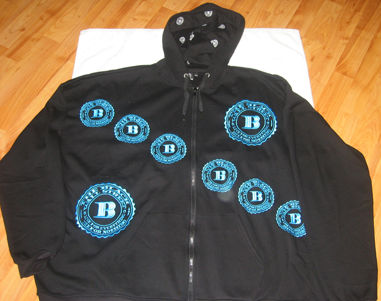 "BLUE BWS LOGOS ""REMIXED"" ZIP HOODIE - BLACK MED"