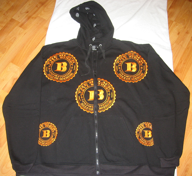 "GOLD BWS LOGOS ""LET'S RIDE"" ZIP HOODIE - BLACK - L"