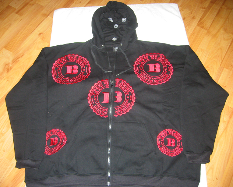 "RED BWS LOGOS ""LET'S RIDE"" ZIP HOODIE - BLACK - XL"