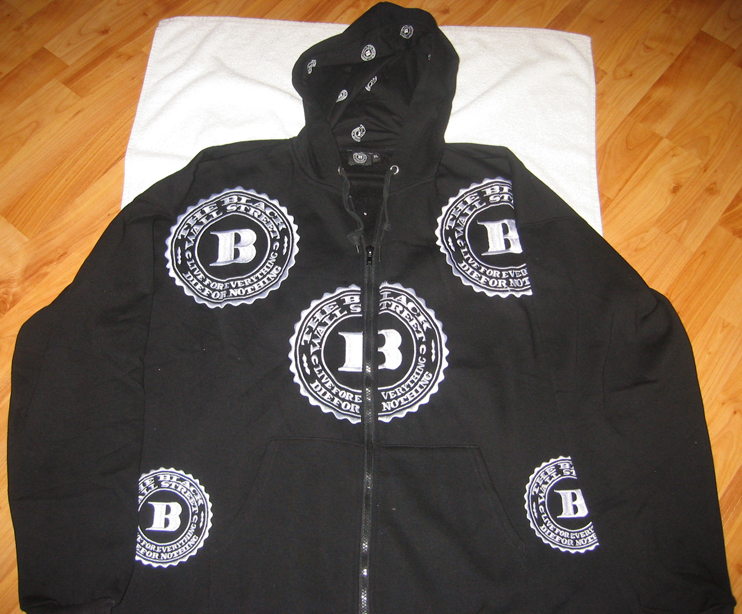 "WHITE BWS LOGOS ""LET'S RIDE"" ZIP HOODIE - BLACK -MED"