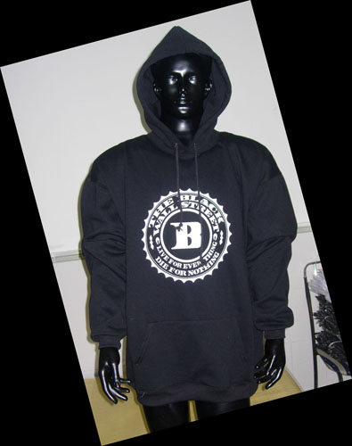 BLACKWALLSTREET WHITE LOGO HOODIE - BLACK