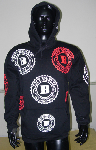 BLACKWALLSTREET RED & WHITE LOGOS HOODIE - BLACK