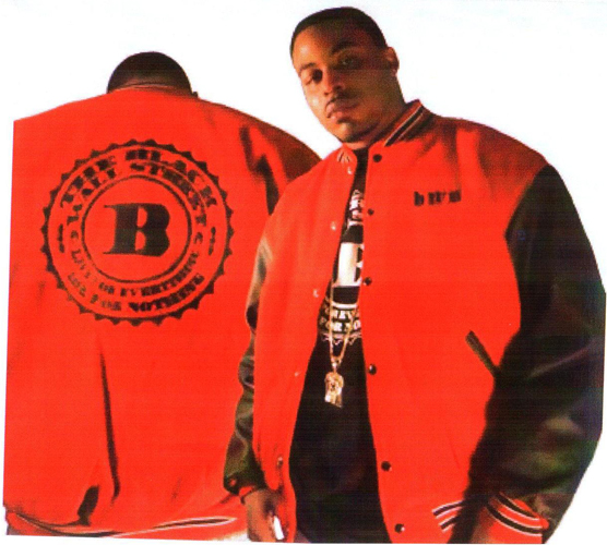 BLACKWALLSTREET BLACK LOGO LEATHER VARSITY JACKET - BLACK & RED
