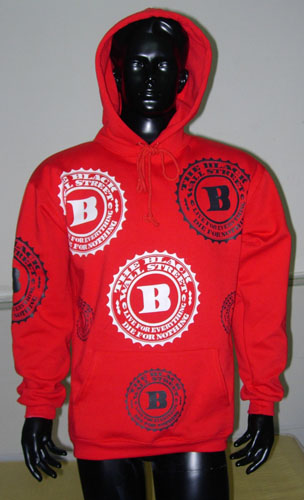 BLACKWALLSTREET BLACK & WHITE LOGOS HOODIE - RED