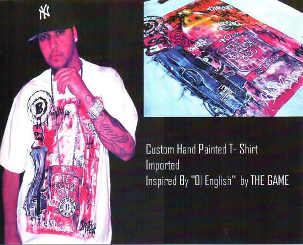 BLACKWALLSTREET HAND PAINTED OLD ENGLISH T-SHIRT - WHITE