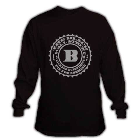 BLACKWALLSTREET GREY LOGO LONGSLEEVE - BLACK