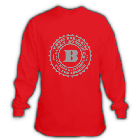 BLACKWALLSTREET GREY LOGO LONGSLEEVE - RED